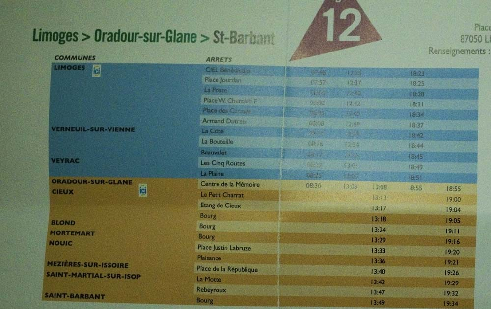 バスのスケジュール