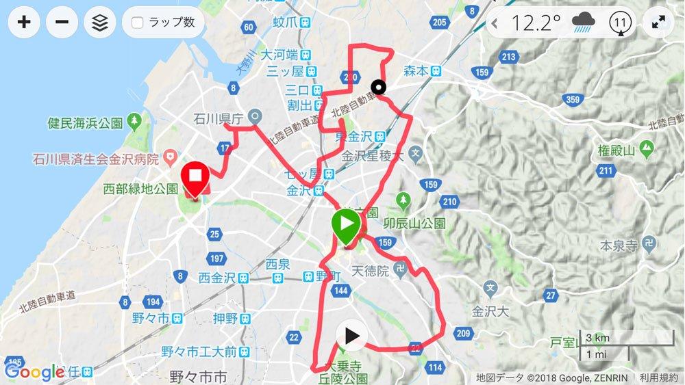 金沢マラソン2018のコース